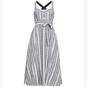 BCBGMAXAZRIA Stripe Cutout Midi Dress Size 12